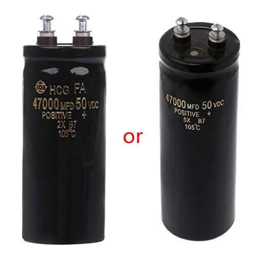 Materiale: alluminio elettrolisi. Tensione nominale: 50 V. Capacità: 47000uF.  Forma: cilindrica. Regolazione: fissa. Frequenza: alta frequenza.  Tolleranza: ± 20%.