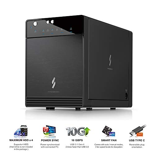 Mediasonic USB 3.1 4 Bay 3.5 SATA Hard Drive Enclosure  USB 3.1 Gen 2 10Gbps Type C/USB-C (HF7-SU31C)