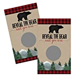 Lumberjack Scratch Off Card Games for Baby Shower (30 Pack) Woodland Bear - Diaper Drawings – Fun Raffle Prize Tickets - Red and Black Plaid Party Supplies Boys
