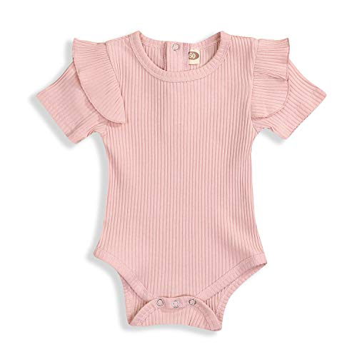 KCSLLCA Baby Girls Ruffle Romper Solid Color Bodysuit Clothes (Dusty Pink, 0-3 Months)