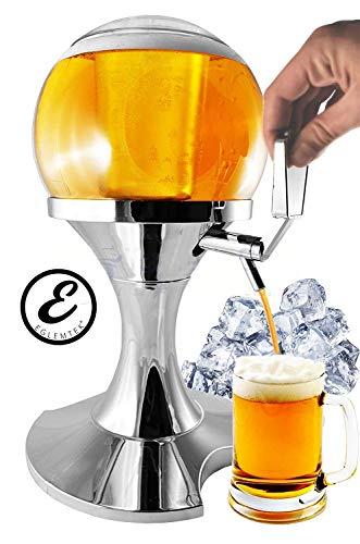 EGLEMTEK Spillatore Distributore Dispenser Birra E Bevande Refrigerate A Forma di Bolla Sferico con Scomparto Ghiaccio capacità 3.5 Litri - Erogatore Birra e Altre Bevande 28 x 28 x 24 Cm