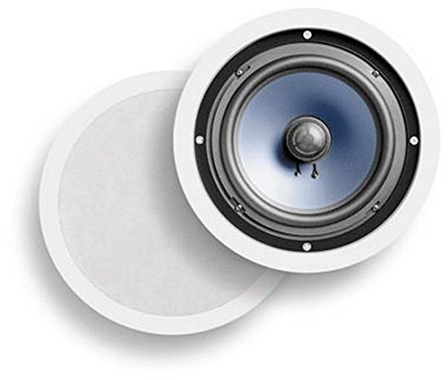 Polk Audio RC80i 2-way Premium In-Ceiling 8' Round Speakers, Set of 2 Perfect for Damp and Humid Indoor/Outdoor Placement - Bath, Kitchen, Covered Porches (White, Paintable Grille)