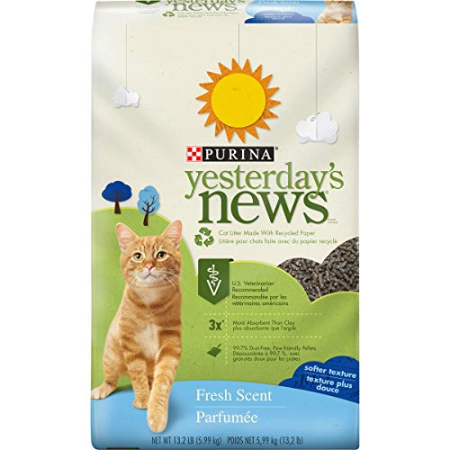 Purina Yesterday's News Non Clumping Paper Cat Litter, Fresh Scent Low Tracking Cat Litter - 13.2 lb. Bag
