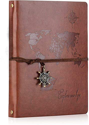 SEEALLDE A5 Cuaderno de Cuero Libreta Hojas Blancas Cuaderno