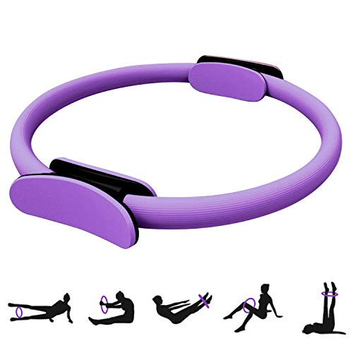 HebyTinco Pilates Ring Pilates Circle, 15 Zoll / 38cm Pilates Ring Yoga Ring mit Doppelgriff Pilates für effektives Kraft- und Widerstandstraining (Violett)