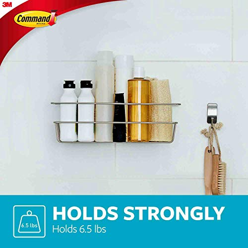 Command Shower Caddy, Satin Nickel, 1-Caddy, 1-Prep Wipe, 4-Large Water-Resistant Strips , 1