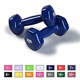 SPRI Dumbbells Deluxe Vinyl Coated Hand Weights All-Purpose Color Coded Dumbbell for Strength Training (Set of 2) (Dark Blue, 5-Pound)