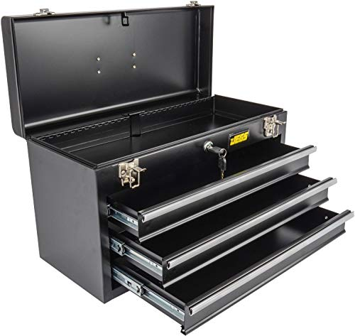 Product Image 2: JEGS 3-Drawer Portable Toolbox   Ball-Bearing Drawer Slides   Rust-Resistant Latches   Black Powder Coat Finish   Includes Lock and Keys