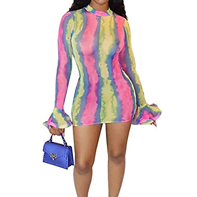 SIZE: Please follow our size chart in the last picture, we suggest you choose BIGGER size when your measurement is between 2 sizes MATERIAL: Polyester & Spandex, soft and comfortable fabric FEATURES: Long Flare Sleeve, U neck, Floral Printed, Mesh Se...