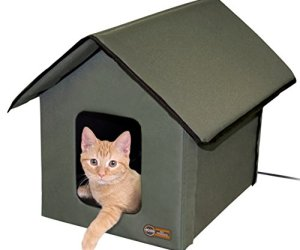 K&H Pet Products Outdoor Heated Kitty House, Olive, 20W, 18' x 22' x 17', Model:3993