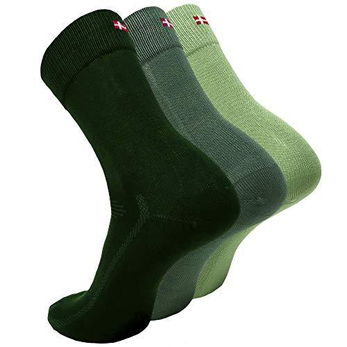 DANISH ENDURANCE Calzini di Bamboo 3 Paia (1 x Verde Chiaro, 1 x Verde, 1 x Verde Scuro, EU 39-42)