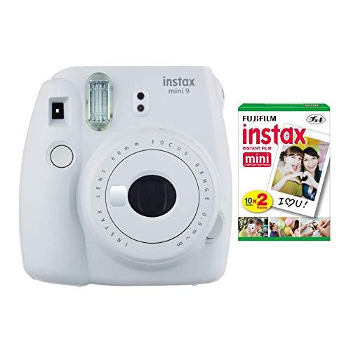 Fujifilm instax Mini 9 Instant Camera (Smokey White) and instax Film Twin Pack (20 Exposures) Bundle