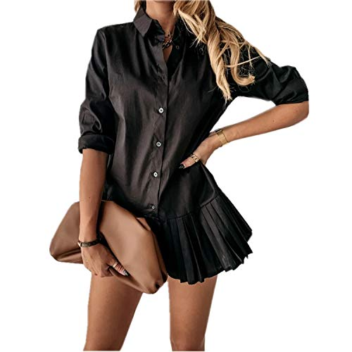 Vestido de Mujer con Manga Larga Top Camisa Larga de Estilo de Oficina Ceremonia Casual Vestido Corto Elegante y Ajustado con Dobrillo Plisado Ropa Superior Dress para Primavera Otoño (Negro, S)