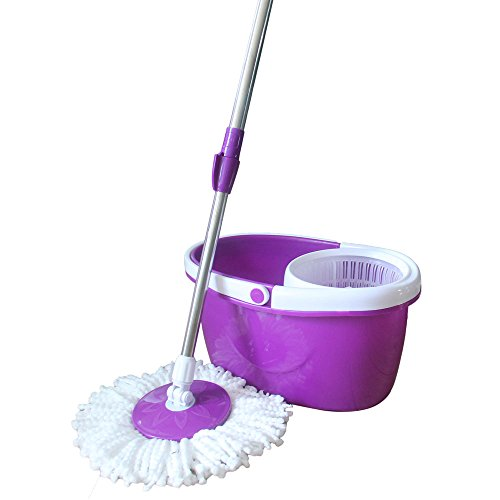 Valuebox Spin Bucket System Mop with Extended Length Handle 2 Microfiber Mop Heads 360° Rotation Easy Floor Mop