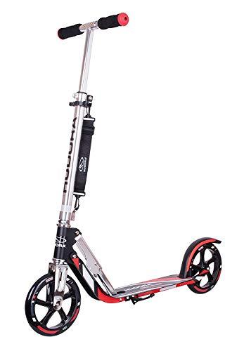 HUDORA 14724 BigWheel 205-Das Original mit RX Pro Technologie-Tret-Roller klappbar-City-Scooter, schwarz/rot