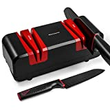 Narcissus Knife Sharpener, 90W Professional Electric Knife Sharpener for Home, 2 Stages at 15-Degree Bevel to Quickly Sharpen & Polish, Scissors & Slotted Screwdriver Sharpen, with Replaceable Wheels