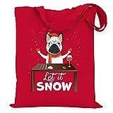 wowshirt Bolsa de Tela Let It Snow Cocaína Bulldog Francés Christmas Motif...