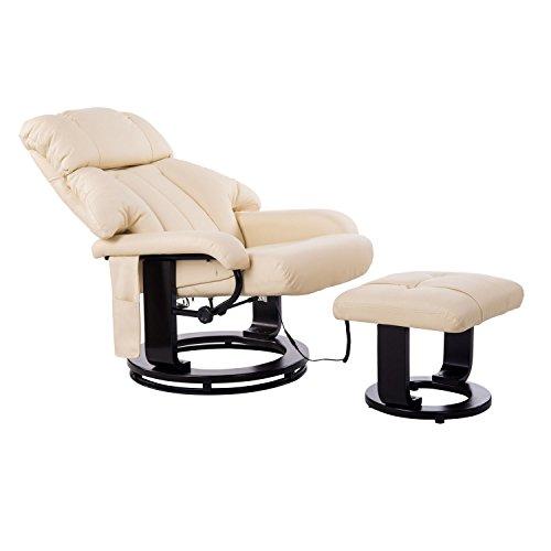 HOMCOM Massagesessel Fernsehsessel Sessel mit Hocker Massage mit Wärmefunktion und Vibration creme