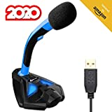 KLIM Voice Desktop USB Mikrofonstand für Laptop Computer - Gaming Mic - Mikrofon PC PS4 Blau [ Neue 2020 Version ]