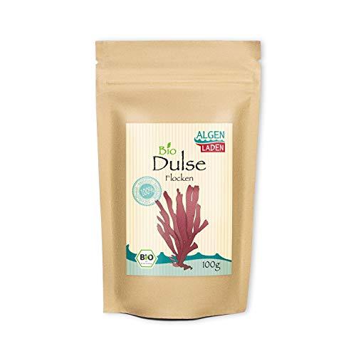 ALGENLADEN BIO Dulse Flakes - 100g | aus dem Atlantik | Rotalgen für Detox-Smoothie | Rohkost | Vegan