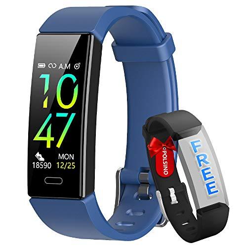 HOFIT Fitness Tracker,Orologio Braccialetto Smartwatch Activity Tracker Impermeabile IP68,Pressione Sanguigna Cardiofrequenzimetro,Contapassi SmartWatch Smartband per Uomo Donna (Blue)