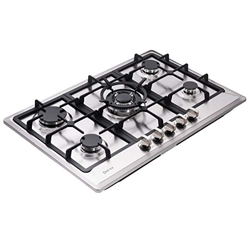 "Deli-kit DK257-A02 30"" LPG/NG Gas Cooktop gas hob stovetop 5 burners Dual Fuel 5 Sealed Burners Built-In gas hob Stainless Steel 110V AC pulse ignition gas Cooker gas stove with cast iron support"