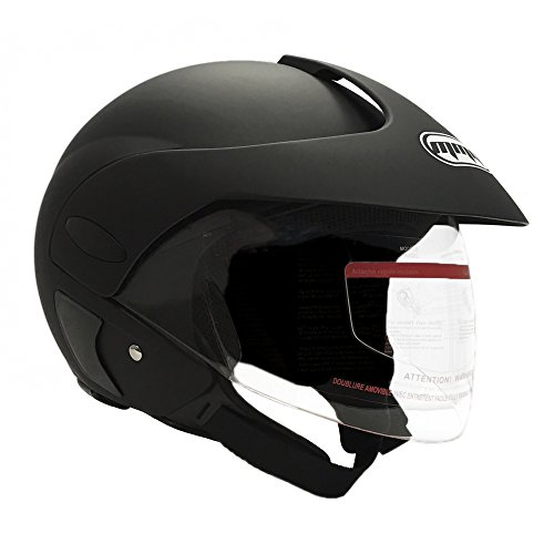 MMG Motorcycle Open Face Helmet DOT Street Legal - Flip Up Clear Visor - DOT and FMVSS218 Certified - Matte Black 203 - Small