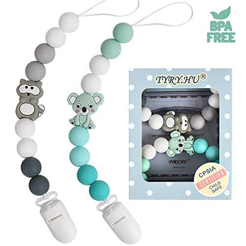 Schnullerkette junge und mädchen Dummy Clips Schnuller Halter für Baby Silikon Waschbär Koala Beißring Perlen BPA Frei (Grau Grün)
