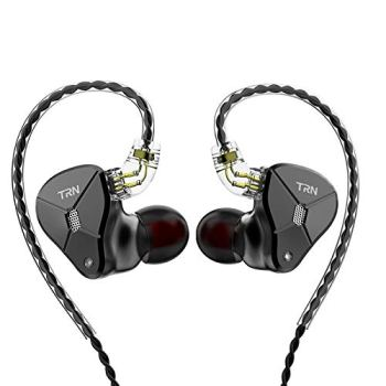 TRN BA5 in Ear Earphone with 5 Balanced Armature Drivers, Pure BA Drivers IEM Headphone with Detachable C Pin Cable (Black No Mic)