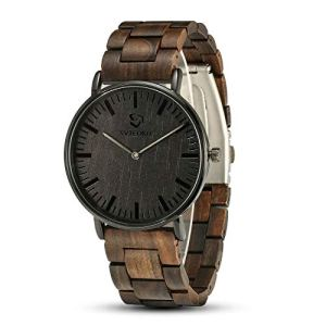 Wooden Watches for Men, JYM Analog Quartz Minimalist Stylish Lightweight Personalized Engraved Wooden Wrist Watch for Men Family Boy Friends