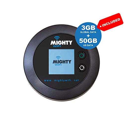 MightyWifi Worldwide high Speed Hotspot with US 50GB & Global 3GB Data for 30 Days, Pocket Mifi, Personal, Reliable, Wireless Internet, Router, No Sim Card, No Roaming, Home, Travel
