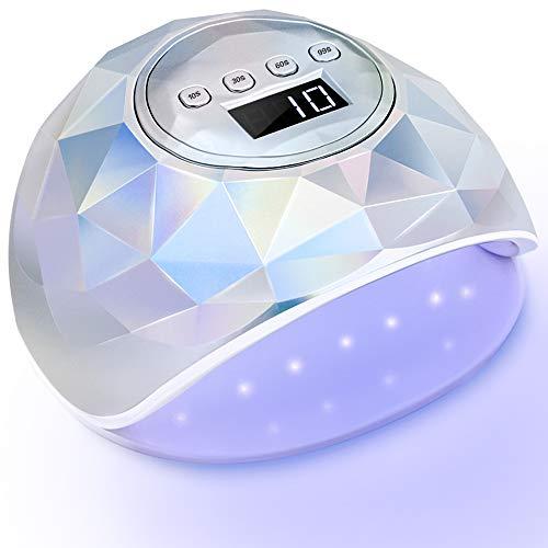 PrettyDiva UV LED Nail Lamp - 86W UV Nail Lamp Gel Light Nail Dryer for Gel Nail Polish, Holographic Nail Lamp with 4 Timer Setting Auto Sensor LCD Screen for Fingernails & Toenails - Silver