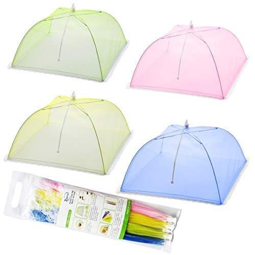 Mesh-Screen Essen Cover Zelte - Set von 4 Umbrella Screens, um Bugs und Fliegen weg von Essen bei Picknicks, BBQ & mehr - 4 Farben (Pink, grün, blau, gelb)
