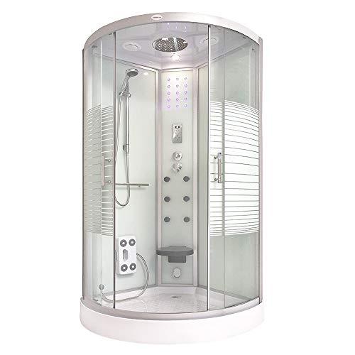 Home Deluxe - Dampfdusche 90x90 - Komplettdusche White Pearl mit Regendusche   Duschtempel, Fertigdusche, Dusche, Duschkabine Komplett