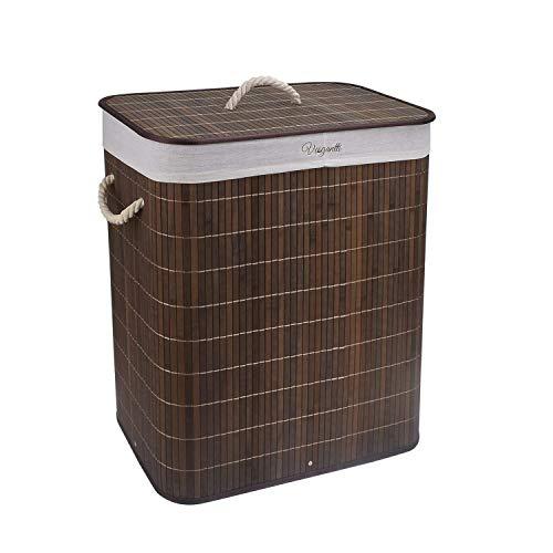 Vesgantti Wäschesammler 100L Bambus Faltbarer Wäschekorb Kleidersortierer Wäschetruhe mit Deckel & Herausnehmbaren waschbaren Linern (Khaki mit flip Deckel, 100 L)