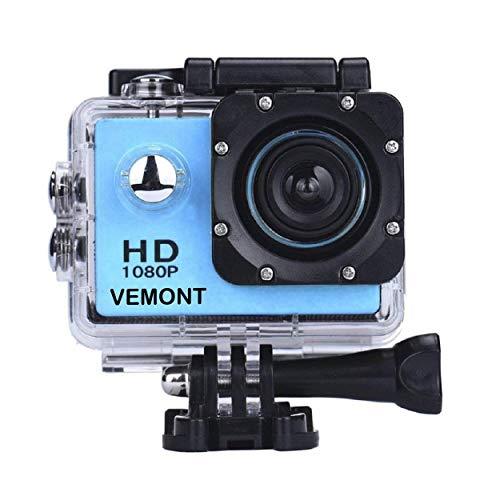 VEMONT Full HD 2.0 pollici Action Camera 1080P 12MP Sport Camera Action Cam Subacquea 30m/98ft impermeabile fotocamera e kit di accessori di montaggio per immersioni/bicicletta/arrampicata/nuoto ecc