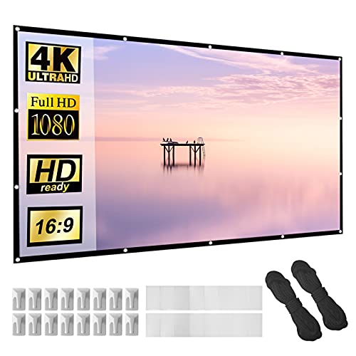 Projector Screen 120 inch Thicker Material 16:9 HD Foldable Anti-Crease Portable Projection Movie Screen for Home, Office, Party, Classroom, Outdoor Indoor, Support Double Sided Projection.
