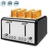 Toaster 4 Scheiben, Morpilot Edelstahl Toaster 1600 Watt mit 1,5'' breiten Schlitzen, 6 bräunungsstufen und 3 Moden (Auftau-, Aufwärm- sowie Abschaltungsmode) (SCHWARZ)