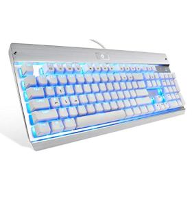 Eagletec KG011 Mechanical Keyboard Clicky Blue Switch Equivalent Wired Ergonomic Office Keyboard, Steel Aluminum Series Blue LED RGB Backlit with 104 Keycaps for Windows PC Home or Business (White)