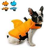 Snik-S Dog Life Jacket- Preserver with Adjustable Belt, Pet Swimming Shark Jacket for Short Nose Dog (Pug,Bulldog,Poodle,Bull Terrier) (M, Orange)