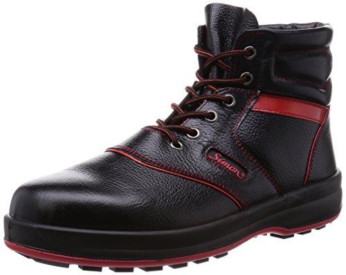 [シモン] 安全靴 中編上 JIS規格 耐滑 耐油 革製 高品質 ハイカット シモンライト SL22 黒/赤 26.5 cm 3E