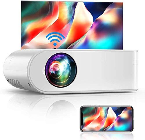 Vidéoprojecteur WiFi, YABER 6000 Lumens Mini Projecteur Soutien Full HD 1080P Rétroprojecteur avec Fonction de Zoom, Projecteur WiFi Home Cinéma Compatible iPhone, Android, TV Stick