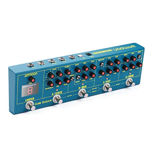 ammoon Combined Effects Pedal 5 Analog Effects(Boost/Overdive/Distortion/Chorus/Phaser) + 2 Digital Effects(Delay/Reverb) + 72 IR Cabinets Simulation + 9 Loops/Preset Working Modes