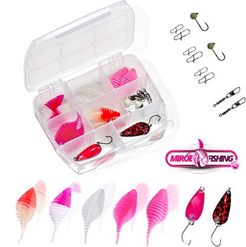 MiRoeFishing Ultralight Set di accessori per pesca alla trota, esche in gomma + spoon + tungsten + snap + girelle