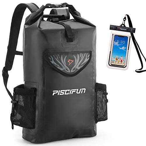 Piscifun Wrapper Dry Backpack with Waterproof Phone Case - Waterproof Floating Black Dry Bag 20L for...