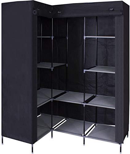 MaxxHome - Guardaroba angolare in tessuto, per camera da letto, colore: nero