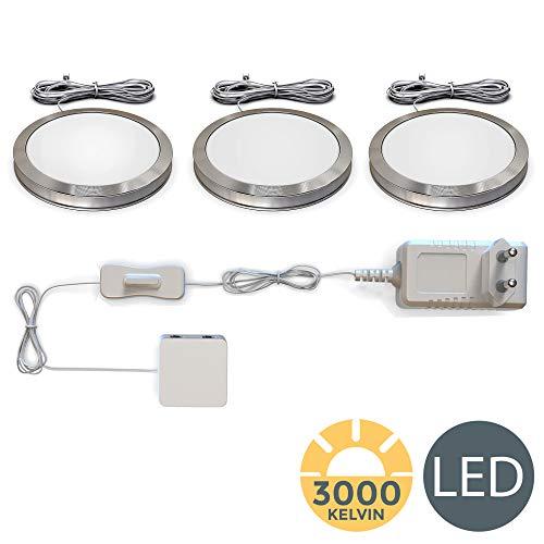 B.K. Licht LED Unterbauleuchten 3er Set Schrankleuchten Komplettset insgesamt 6W 170lm 3000K Warmweiß LED Küchenlampen Vitrinenbeleuchtung Zubehör inkl