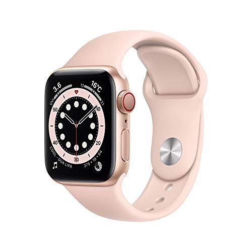 最新 Apple Watch Series 6(GPS + Cellularモデル)- 40mmゴールドアルミニウムケースとピンクサンドスポー...