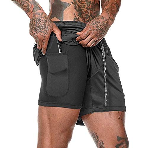 XuyIeY - Pantalones cortos para correr para hombre, entrenamiento, 2...