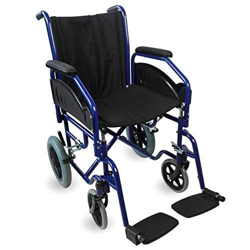 Mobiclinic, Modelo Maestranza, Silla de ruedas ortopédica, plegable, para minusválidos, de aluminio, freno en manetas, reposapiés y reposabrazos extraíbles, color Negro, asiento 40 cm, ultraligera